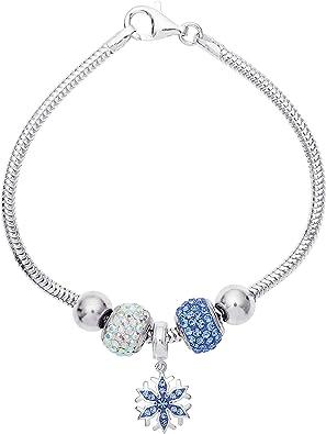 925 Sparkling Zirconia Snow Flake Adjustable Bracelet Sterling Silver