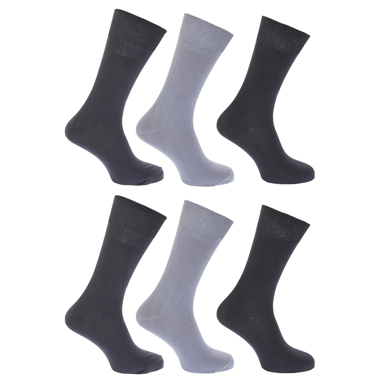 FLOSO® Womens/Ladies Plain 100% Cotton Socks (Pack Of 6) EUR 37-41) (Black) UTW208_4
