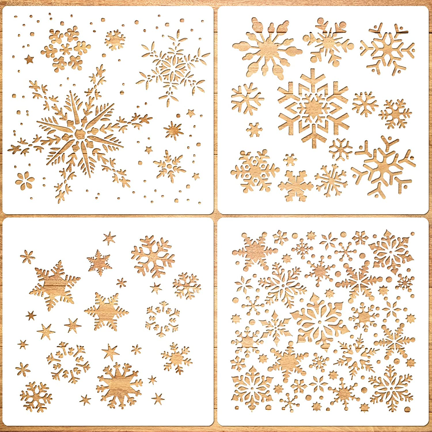 Konsait Large Christmas Snowflake Stencil Template,Reusable Plastic Painting DIY Crafts Templates,Xmas Snowflake Decor for Wood Window Glass Greeting Card,Cookies, Cake,Biscuit,Dessert,Coffee Decor