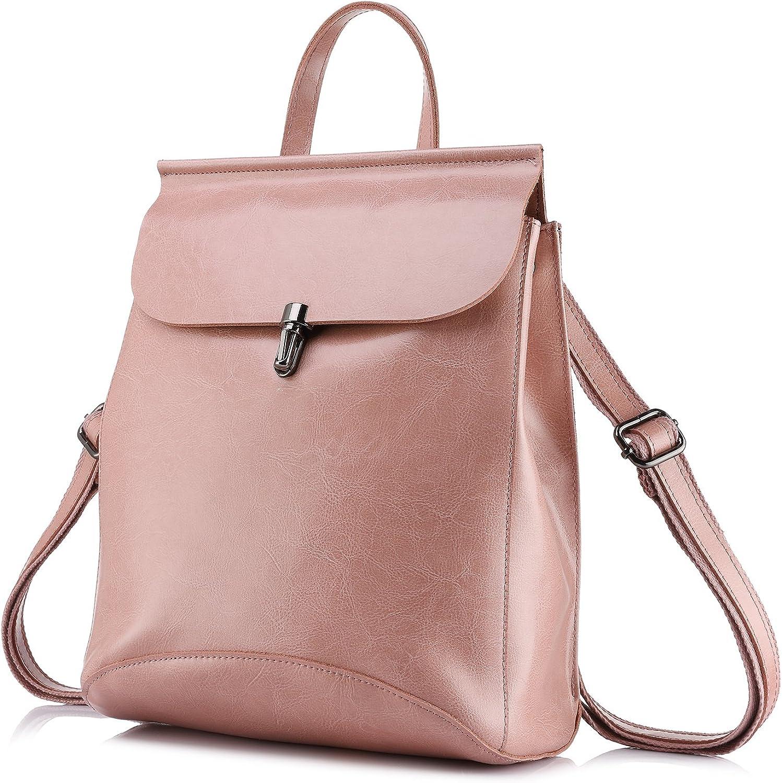 Realer Bolsos de cuero genuino mochilas para mujer bolso de hombro