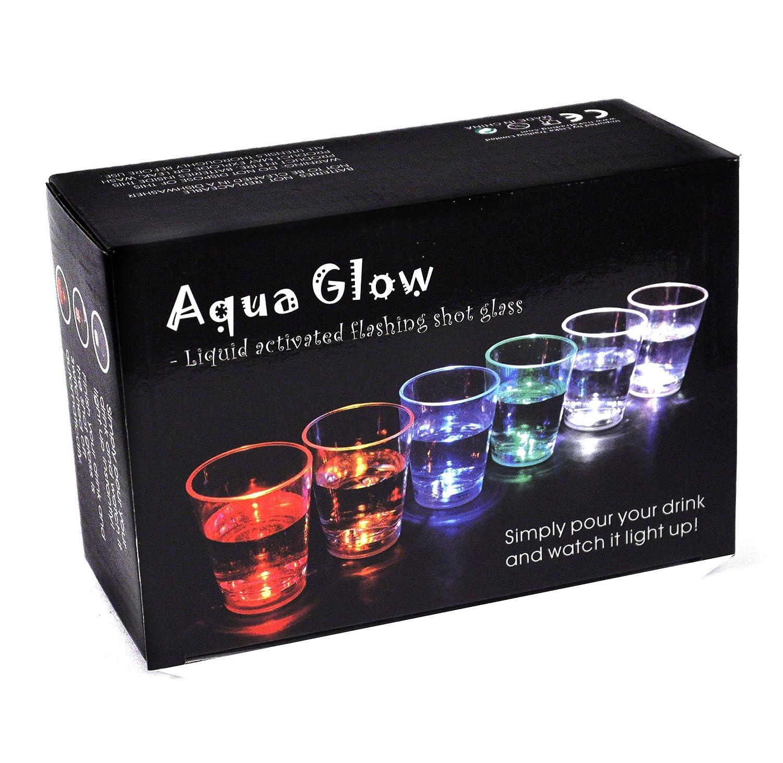 Amazon.com | Aqua Glow - 6 Liquid Activated Shot Glasses: Strobing ...