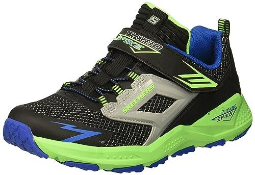 Skechers Kids Boys Turbo Spike Sneaker, Black/Blue/Lime, 1 Medium