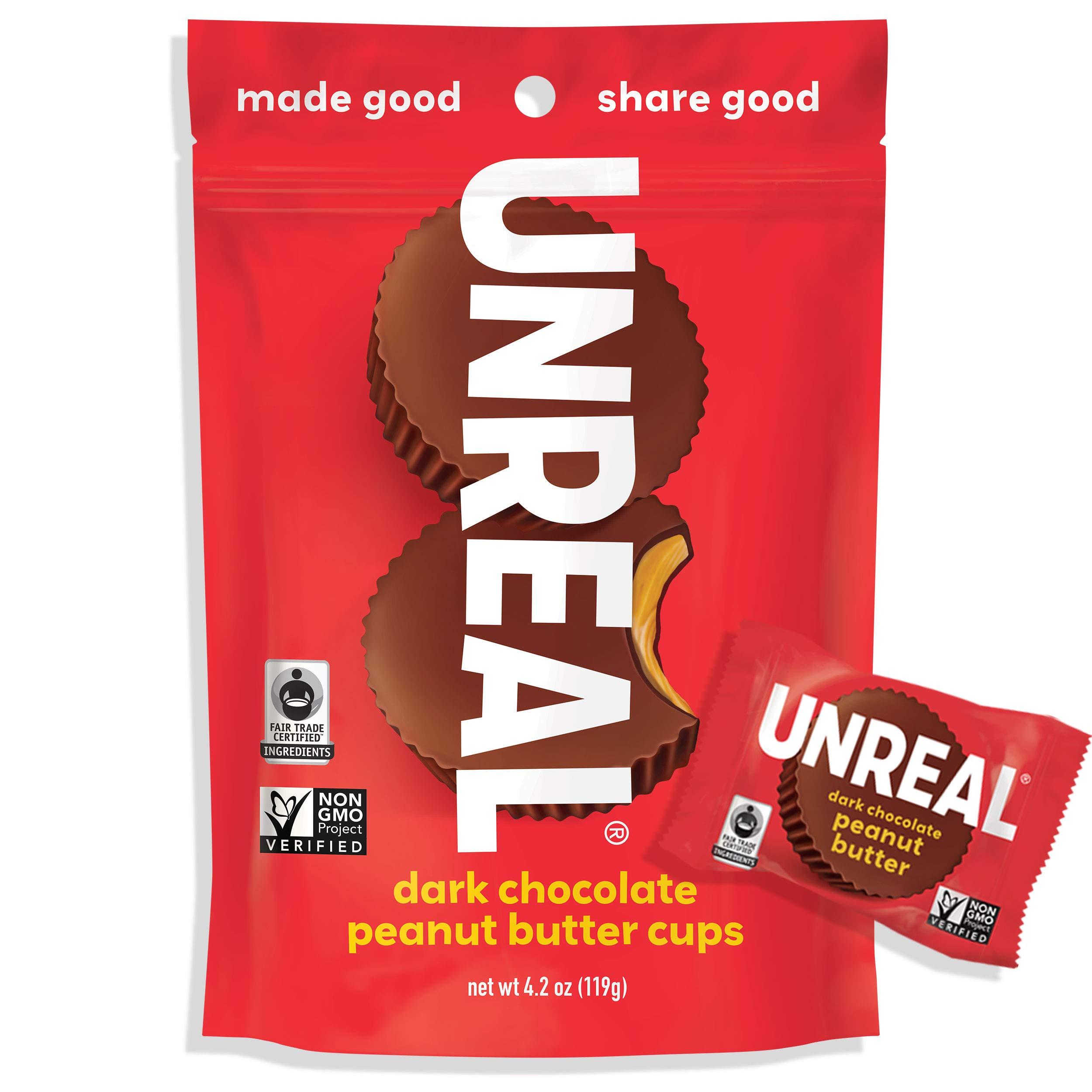 CDM product UNREAL Dark Chocolate Peanut Butter Cups   Less Sugar, Vegan, Gluten Free   6 Bags big image
