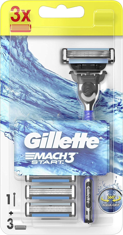 Gillette Mach3 Start Máquina de Afeitar para Hombre - 3 Recambios, con Mango Aqua-Grip para un control total incluso en Mojado