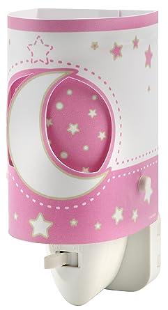 Dalber 63235LS Moon and Stars, Luz nocturna Luna y estrellas rosa, bombilla LED incluida