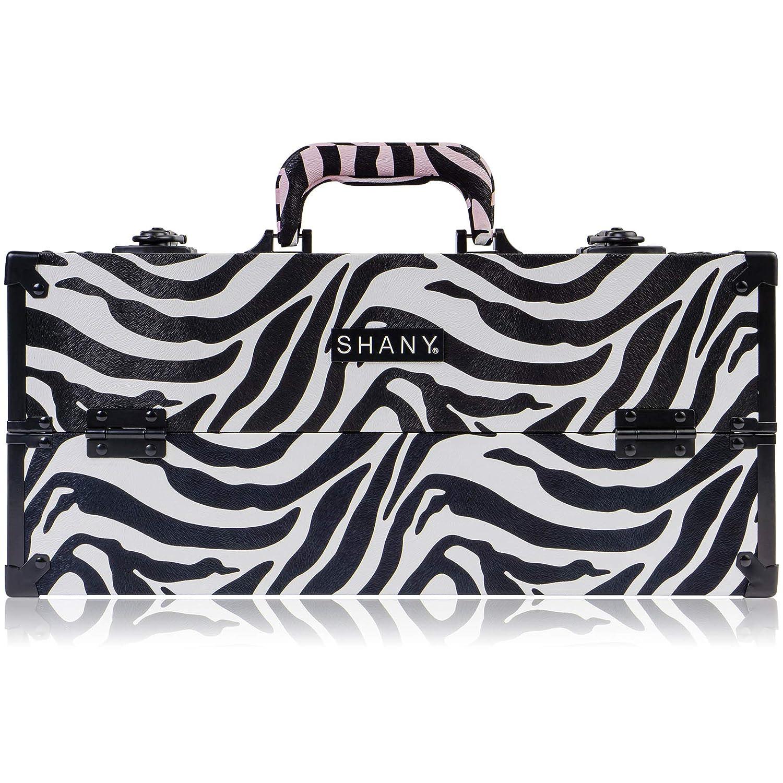 SHANY Modern Slim Train Case Makeup Organizer with Brush Holder and Lock, Mountain Zebra