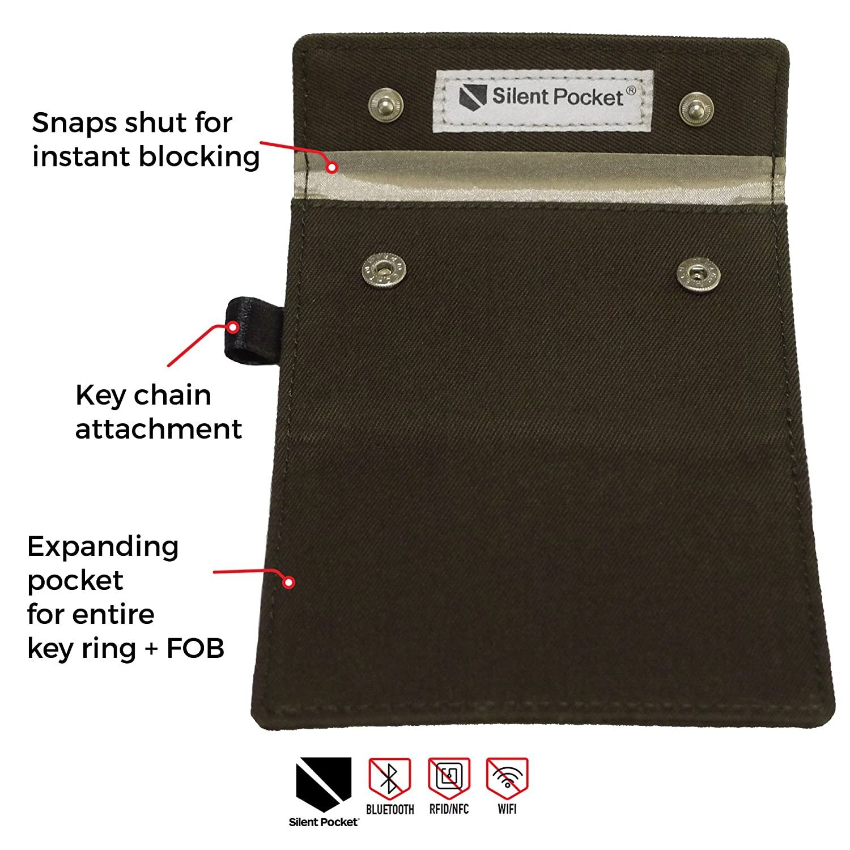 Amazon Com Silent Pocket Signal Blocking Faraday Key Fob Case Car Anti Theft Device Shielding Against All Signal Types Including Rfid Blocking Durable