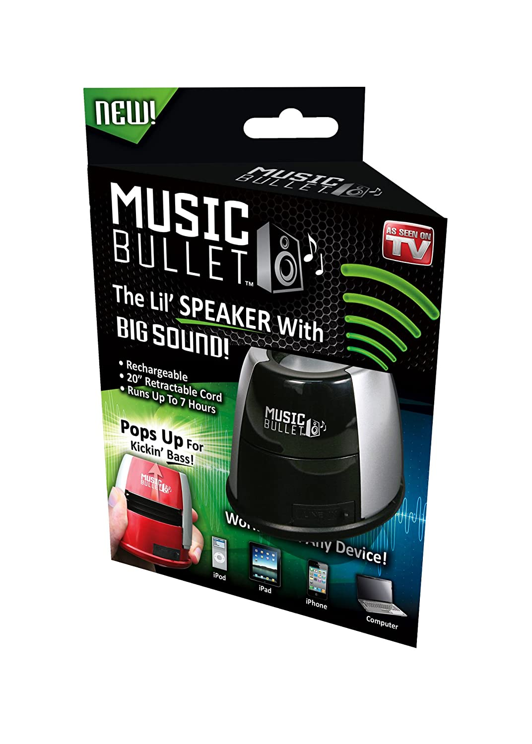 Amazon.com: Idea Village Products MUBLT12 Music Bullet Mini Speaker, As  Seen On TV   Quantity 1: Electronics