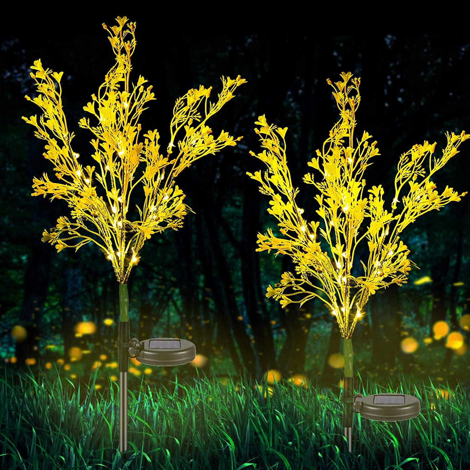 Neporal Solar Garden Lights Outdoor Decorative, Solar Flowers Lights Dusk to Dawn, Solar Garden Stake Lights Waterproof IP65, Solar Powered Flower Lights for Patio, Garden, Yard, Lawn, Pathway