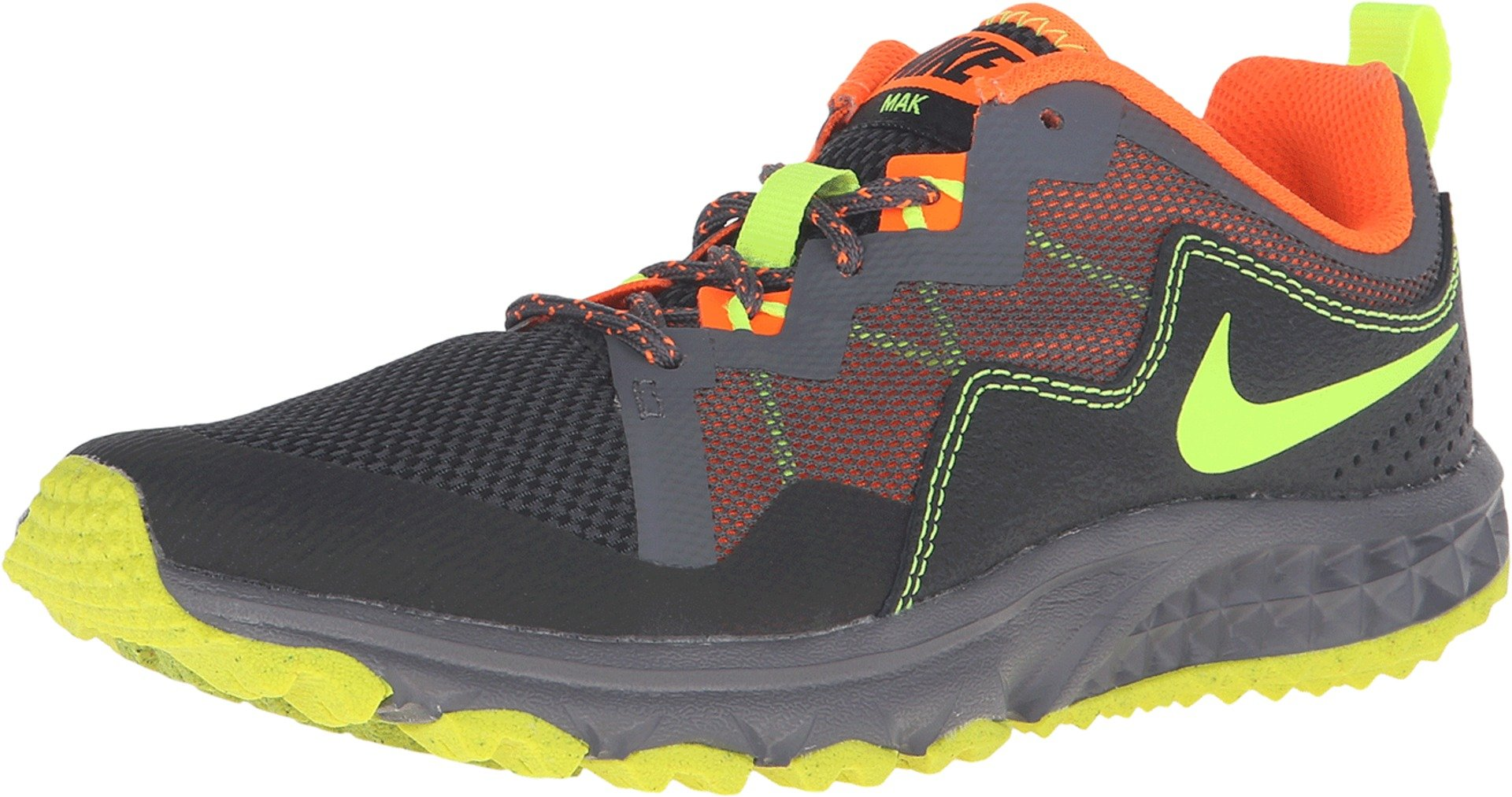 NIKE MAK Boys Trail Runner (GS), Black Volt-Dark Grey-Orange, Size 6.5Y US