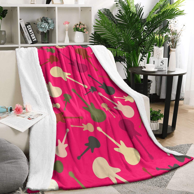Heart Wolf Pink Hawaiian Cool Guitar White 5979 Inch Flannel Fleece Blanket Sherpa Blanket Bed Bed Blanket by Heart Wolf