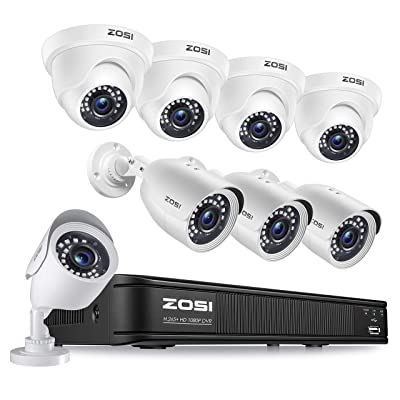 ZOSI H.265+ 1080p Home Security Camera System Indoor Outdoor