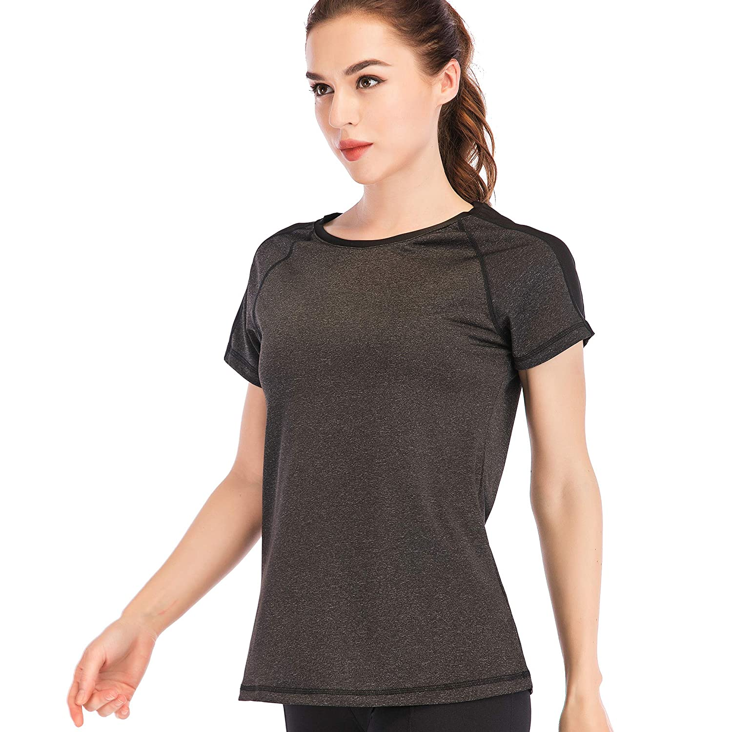 c2e0bfd5 Amazon.com: Women's Short Sleeve Yoga Tops Workout Activewear Dry Fit Hiking  T-Shirt: Clothing