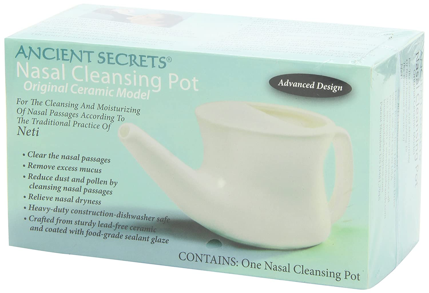 Ancient Secrets Ceramic Nasal Cleansing Pot, 1 Neti Pot