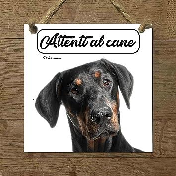 dóberman con Mod 1 cuidado con el Perro matrícula azulejo ...