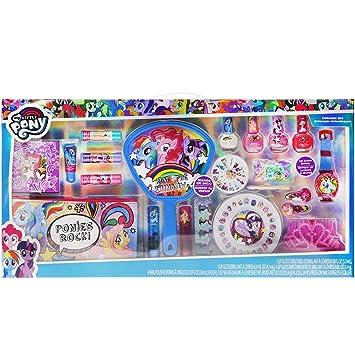 Townley Girl My Little Pony Mega Cosmetic Set with Lip Gloss, Nail Polish,  Nail Gems, Hair Clips,