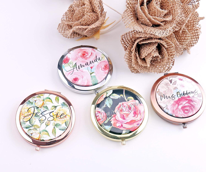 Espejo compacto con diseño de rosas para dama de honor, regalo para tu texto, regalos de boda, acuarela, regalo para su esposa, aniversario, regalo de Navidad