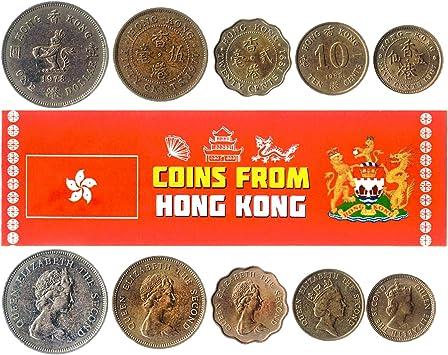 5 Monedas Diferentes - Moneda extranjera Antigua y Coleccionable de Hong Kong para coleccionar Libros - Conjuntos únicos de Dinero Mundial - Regalos para coleccionistas: Amazon.es: Juguetes y juegos
