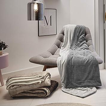 s.Oliver double soft Decke 1280 beige wollweiß 300 feine flauschige Kuscheldecke