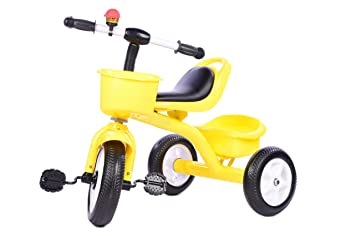 aede4c4c256 Buy Planet of Toys Metal Frame Tricycle with Front and Back Basket (Yellow)  for Kids, Children Online at Low Prices in India - Amazon.in