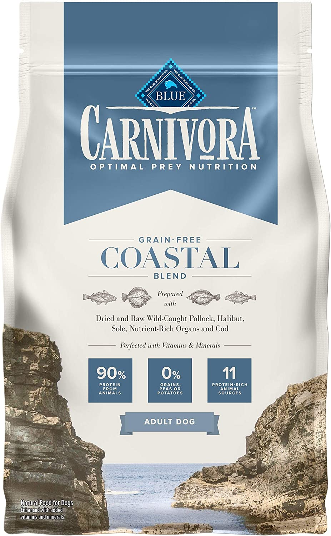 Blue Buffalo Carnivora Optimal Prey Nutrition High Protein, Grain Free Natural Adult Dry Dog Food, Coastal Blend 4lb