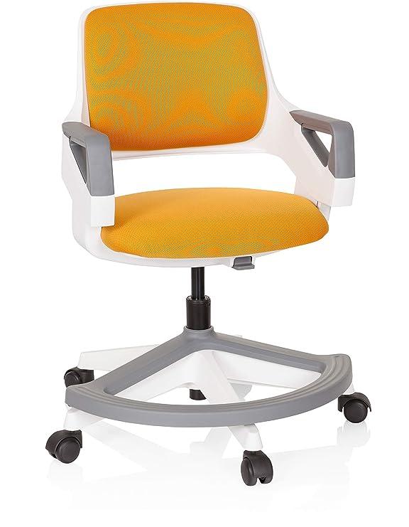 hjh OFFICE 640490 Kinder und Jugendstuhl Kid Flex Stoff Orange mitwachsender Drehstuhl, Fußablage & Rückenlehne höhenverstellbar
