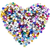 600 Pieces Gems Acrylic Craft Jewels Flatback Rhinestones Gemstone Embellishments Heart Star Square Oval and Round, 6 to 10 mm, Assorted Color