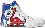 Tênis Chuck Taylor All Star Infantil Cano Alto Branco e Vermelho Dinossauro Converse CK0722