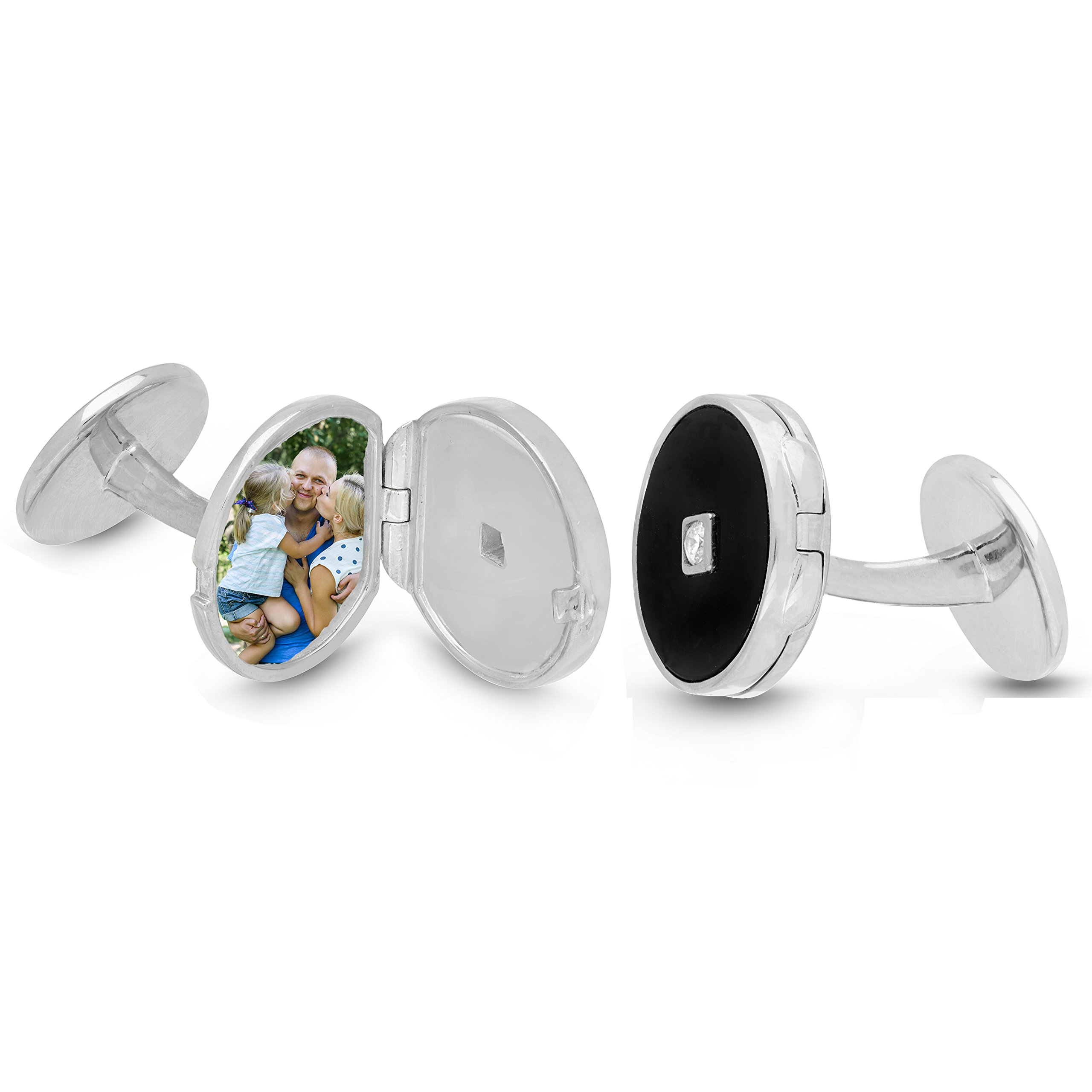 With You Lockets-Sterling Silver-Custom Photo Locket Cufflinks-That Hold Pictures For Men-The Ryan