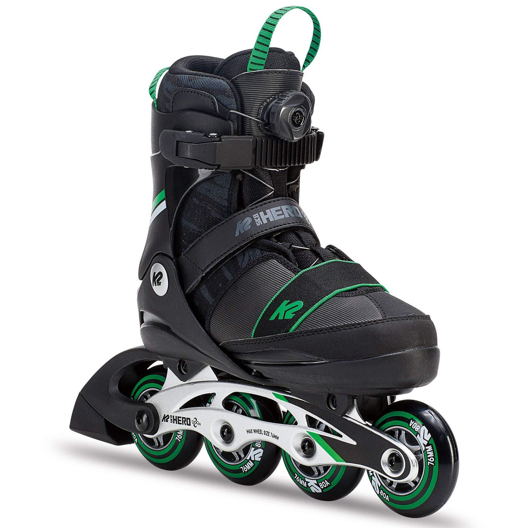 K2 Skate Sk8 Hero Boa Alu Inline Skates, Black Green, Size 1-5