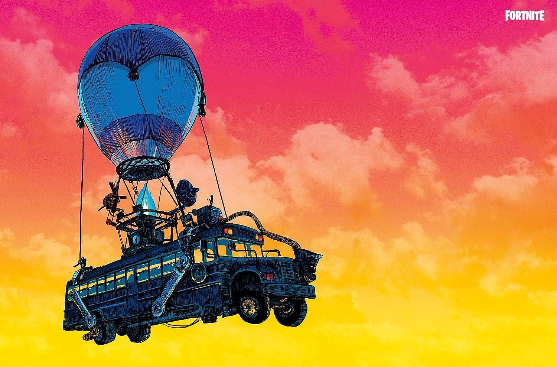 Amazon Com Trends International Fortnite Battle Bus Landscape Wall Poster 22 375 X 34 Unframed Version Home Kitchen