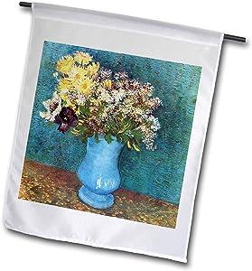 3dRose VintageChest – Masterpieces - Van Gogh - Vase with Syringas Daisies and Anemones - 12 x 18 inch Garden Flag (fl_303200_1)