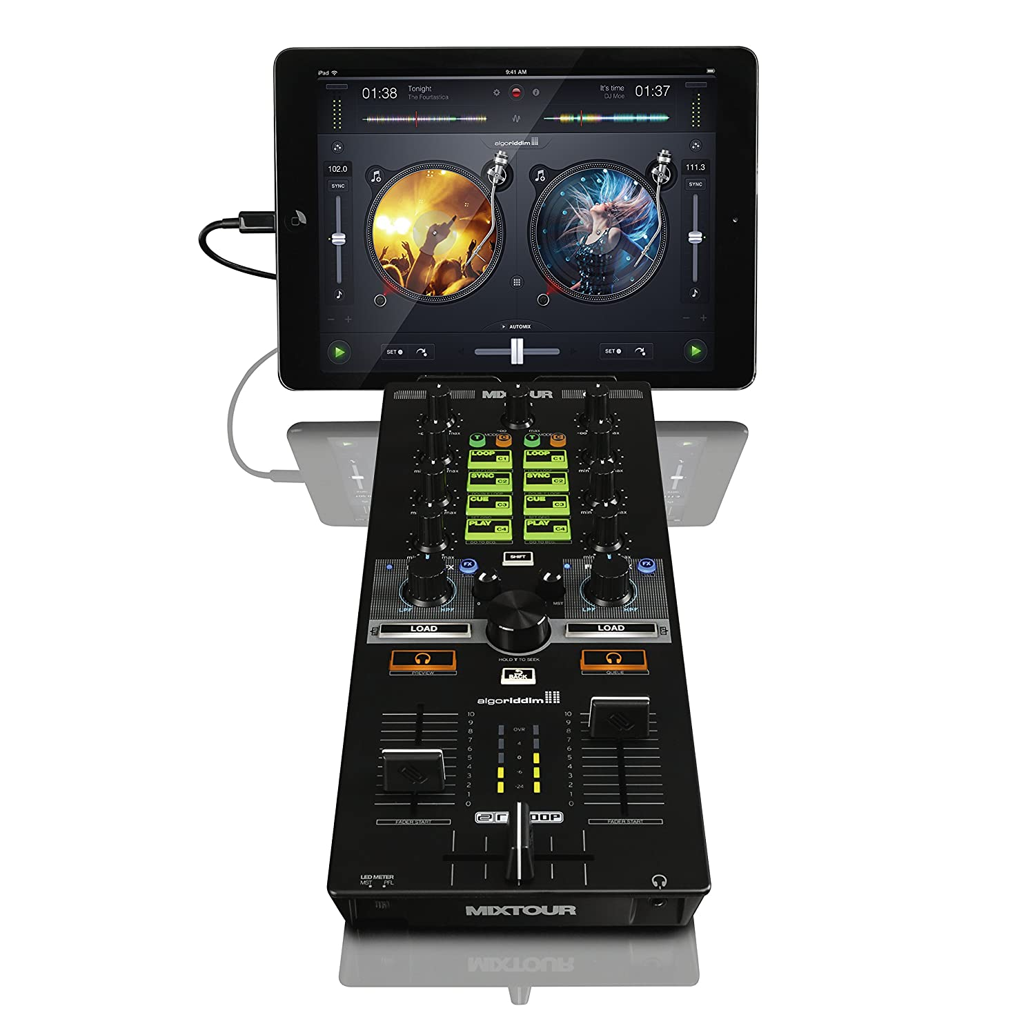 Reloop AMS-MIXTOUR All-In-One Controller-Audio Interface for iOS/Andriod/Mac for DJAY American Music and Sound
