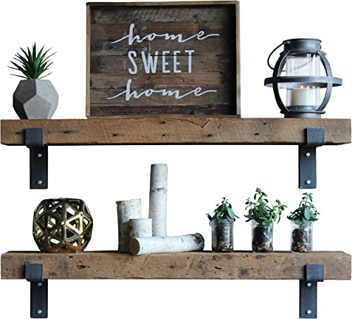Urban Legacy Reclaimed Wood Shelves Floating Or with Brackets Amish Handcrafted in Lancaster County, PA Set of Two – Genuine, Salvaged Bracketed Natural, 40 x 7 x 2.5
