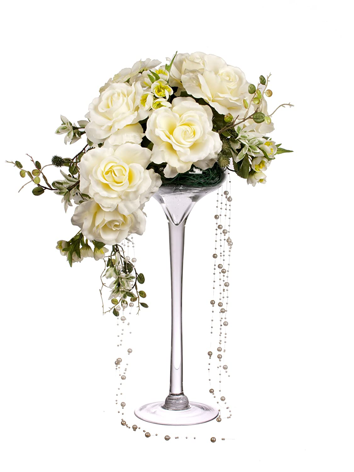 Closer2nature 55cm trailing rose and draping pearl bead display in closer2nature 55cm trailing rose and draping pearl bead display in tall martini glass vase white amazon garden outdoors reviewsmspy