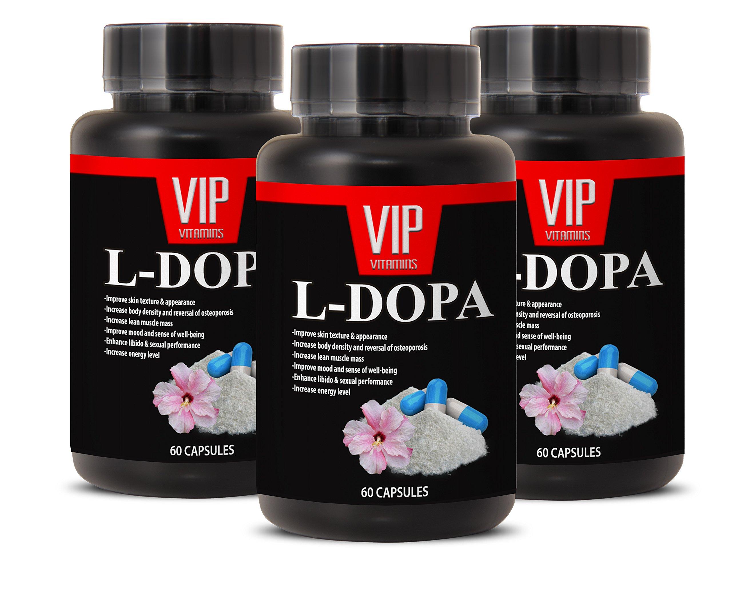 Natural sexual enhancement for men - L-DOPA - 99% (MUCUNA PRURIENS) - Ldopa mucuna - 3 Bottles 180 Capsules