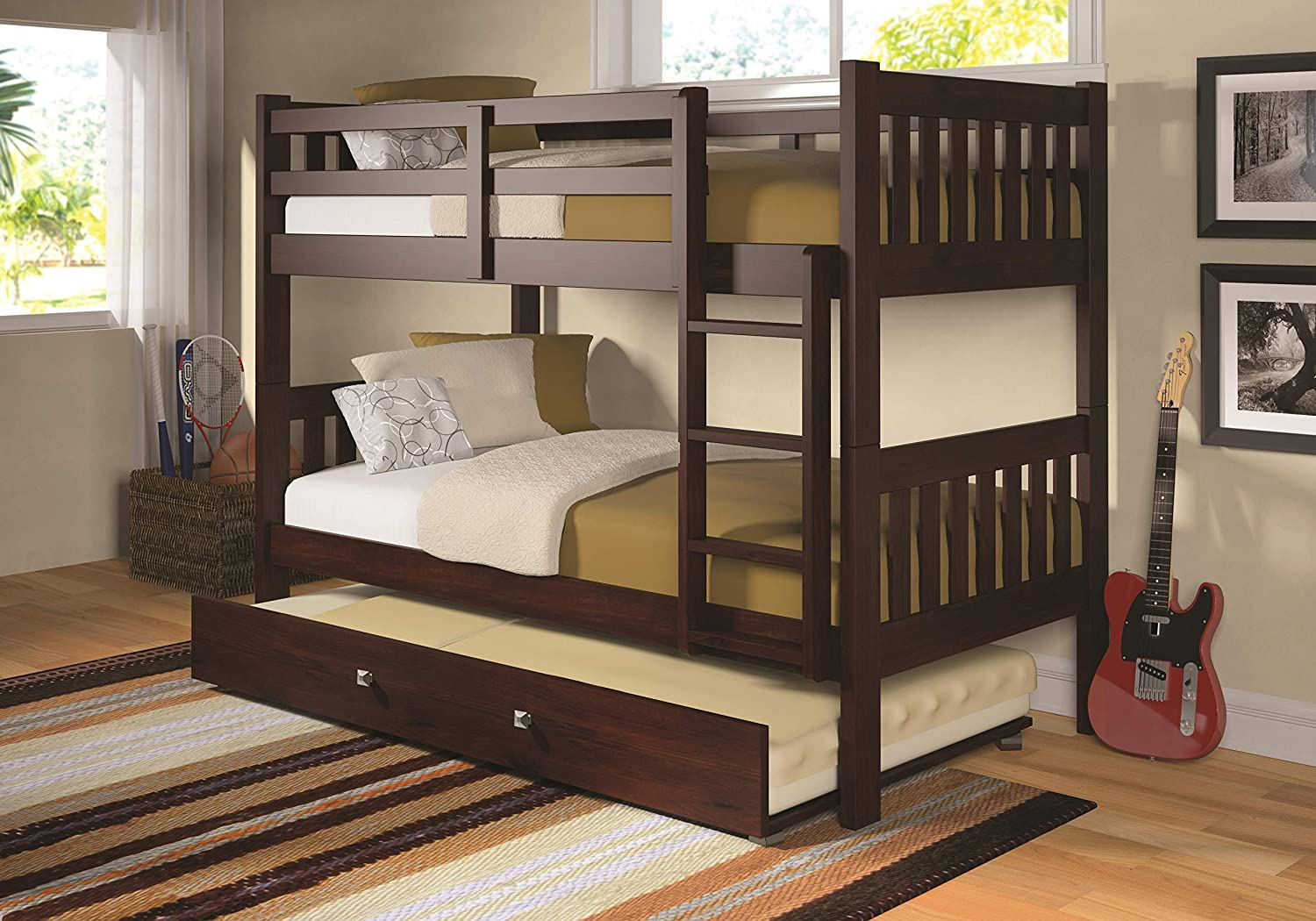 Donco Kids 1010-3TTCP_503-CP Mission Bunk Bed withTrundle Twin Twin Dark Cappuccino