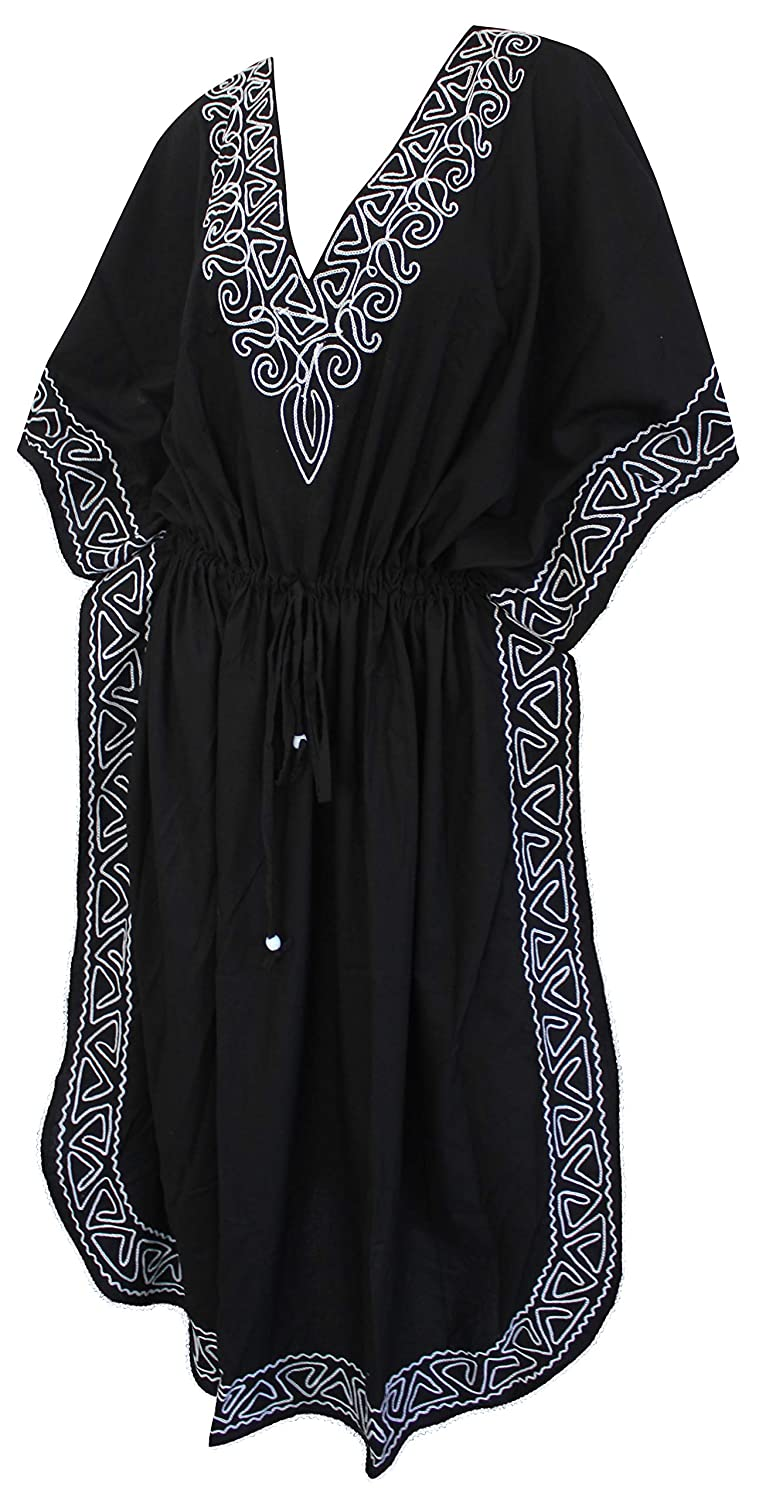 9296e8996733 Rayon Hand Embroidered Deep Neck Cover up Long Swimwear Beach Caftan Dress  Black   LA LEELA  Amazon.co.uk  Clothing