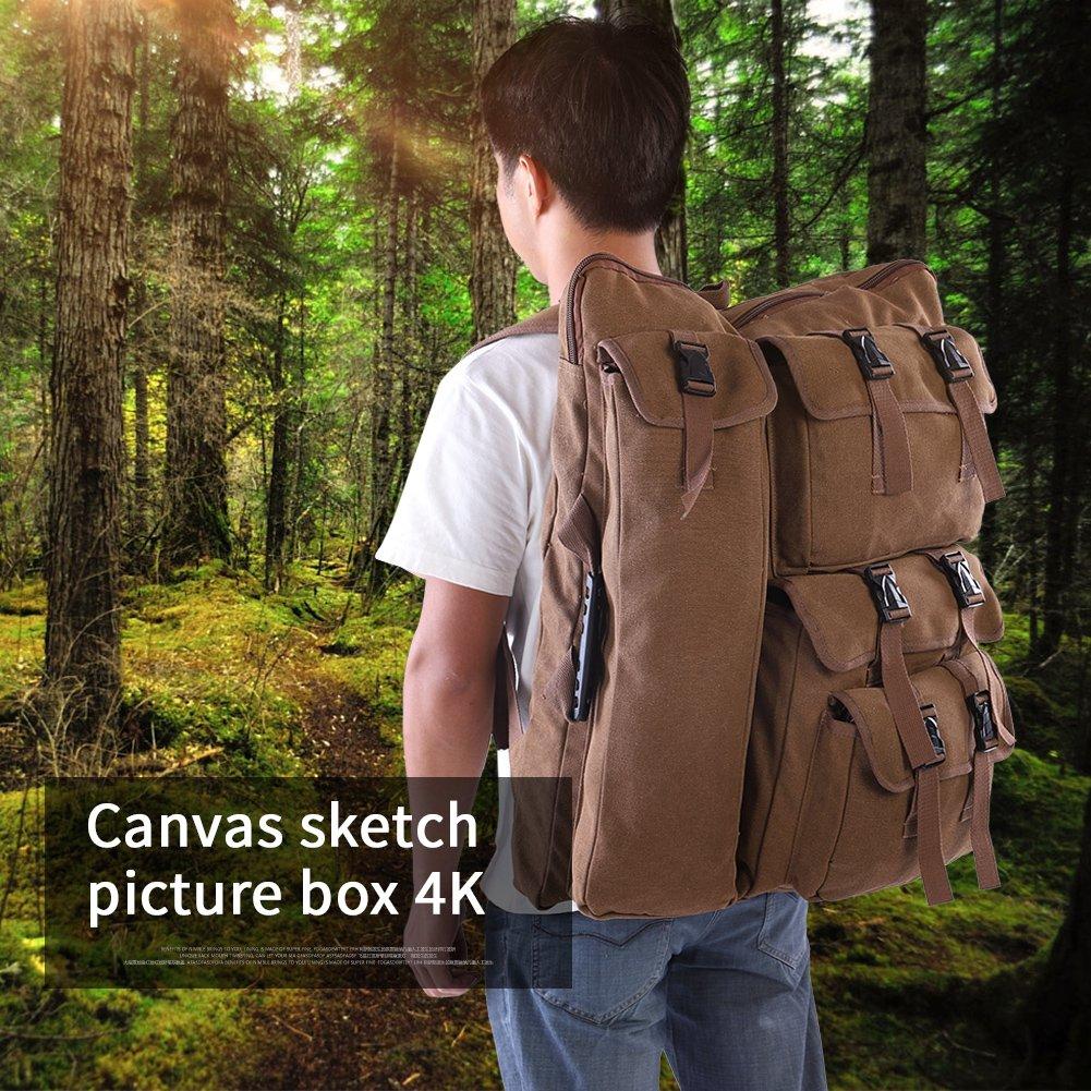 Akozon Sketch Board Bag,4K Canvas Coffee Drawing Board Multi-Functional Sketchpad Art Bag