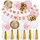 Pink and Gold Baby Shower Decorations for Girl - ITS A GIRL Banner & BABY SHOWER Banner, Tassel Garland, Paper Pom Poms Tissue Flower Nursery Gender Reveal Party Kit Decor