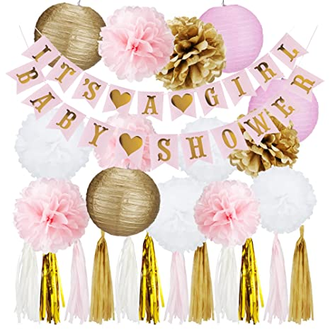 Pink And Gold Baby Shower Decorations For Girl   ITS A GIRL Banner U0026 BABY  SHOWER