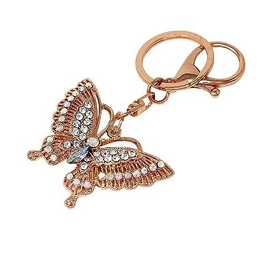 Amazon.com: Llavero de mariposa de oro rosa filigrana vidrio ...
