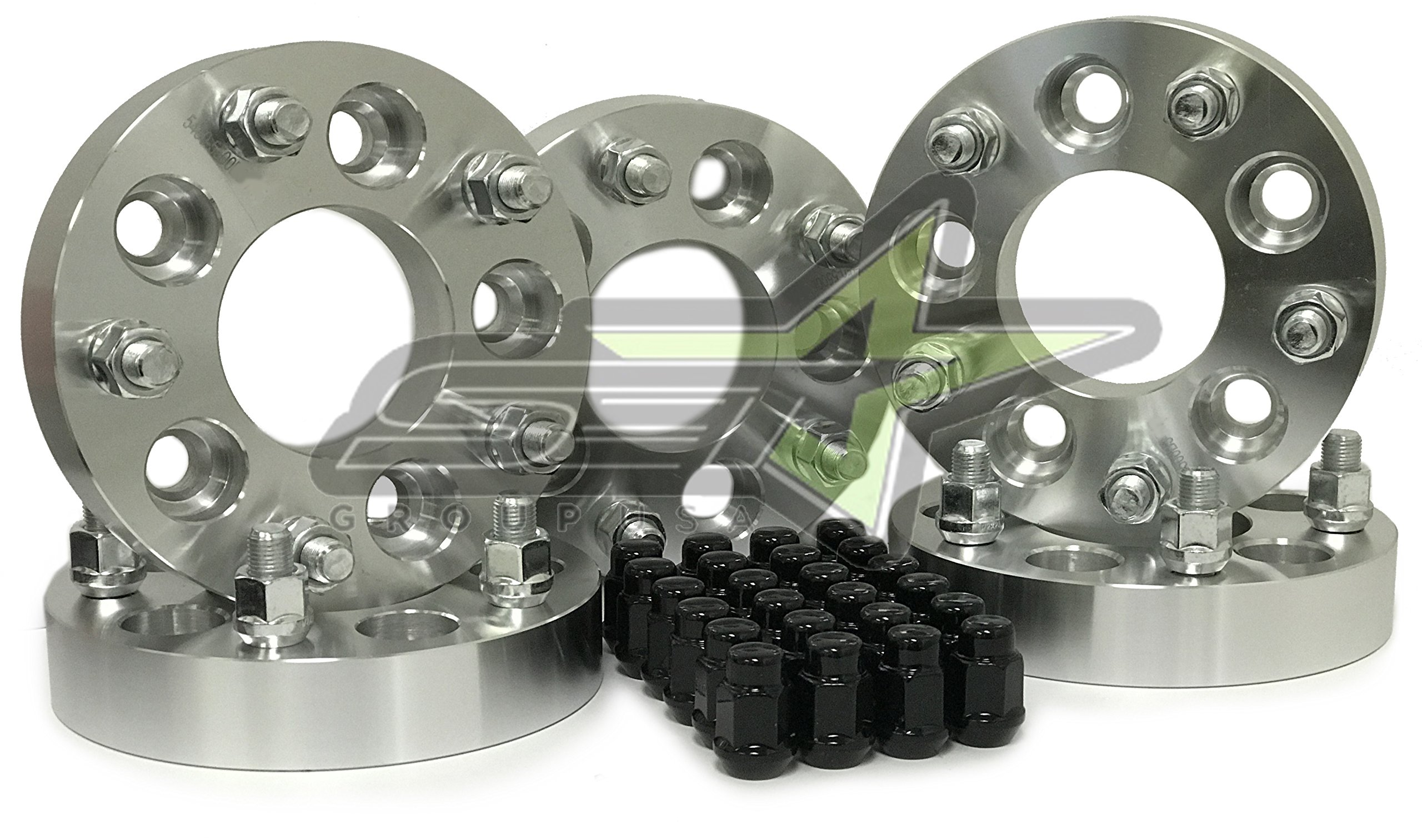 5 Wheel Adapters 5x4.5 to 5x5 1.25''(32mm) - Adapts Jeep Jk Wheels on Tj Yj Kk Sj Xj Mj (Set of 5) + 25 Chrome Accorn Lug Nuts