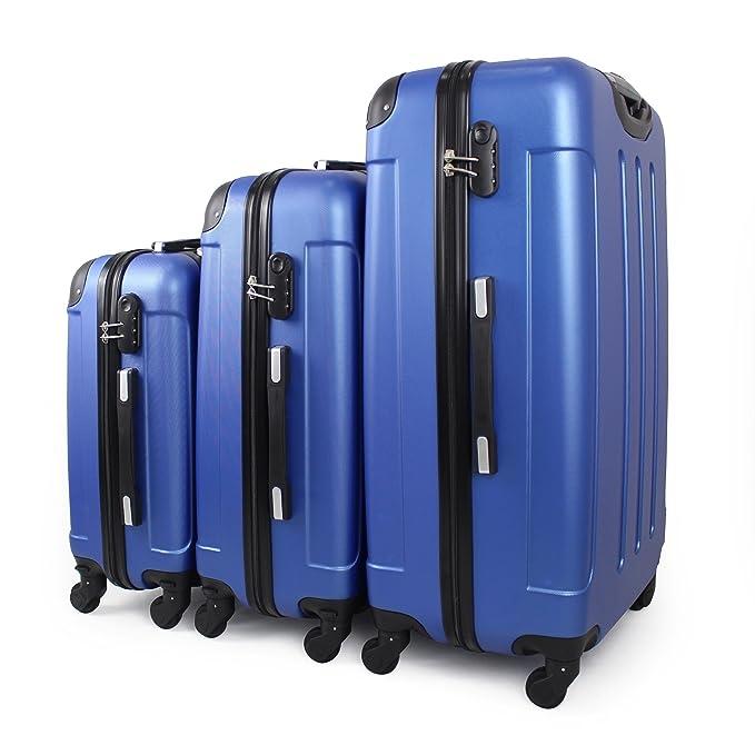 Leogreen - Juego de Maletas, Maletas Equipaje, Esquinas protegidas, 51 61 71 cm, Azul, ABS, Material: Plástico ABS, Peso: 3 kg (pequeño) 3,5 kg ...