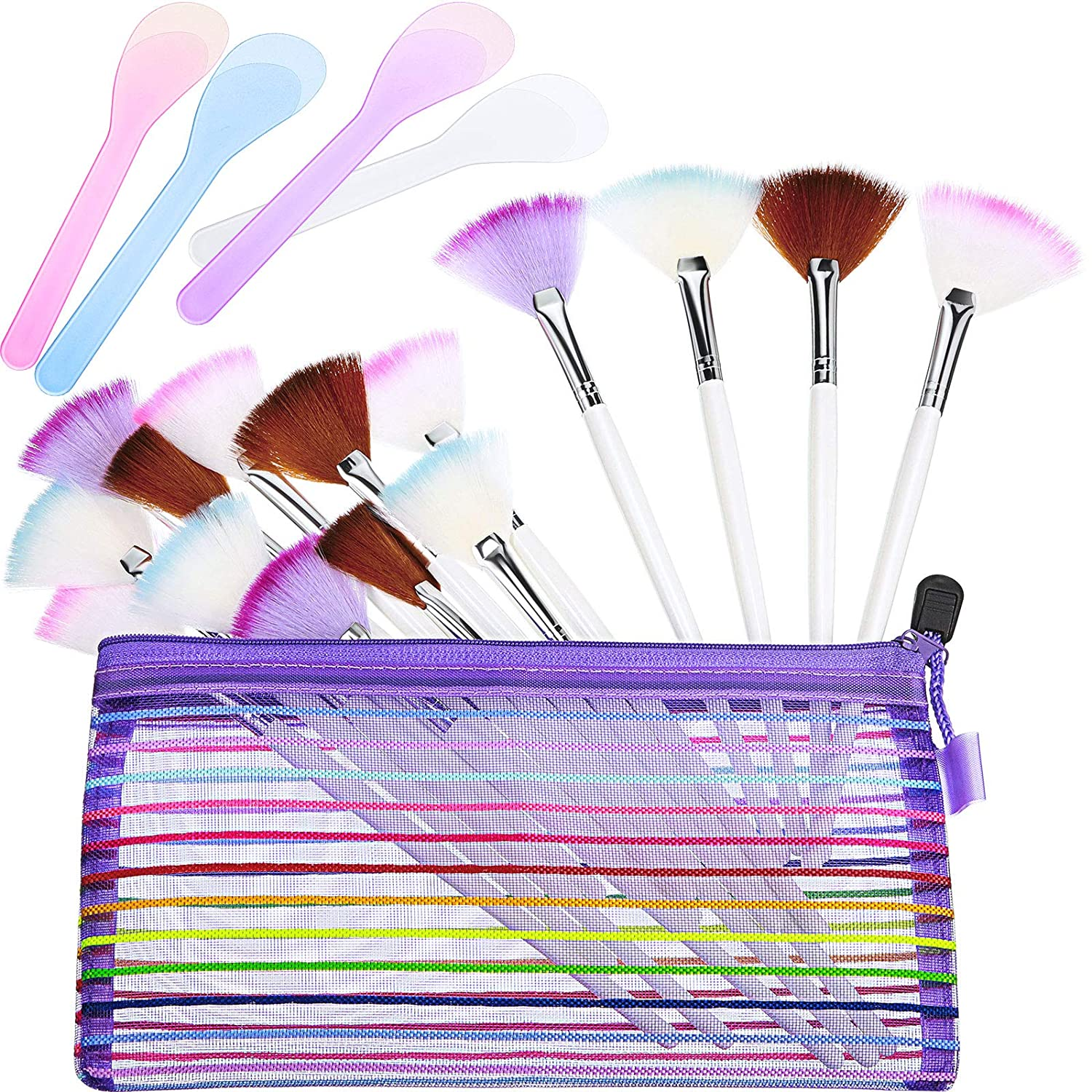 16 Pieces Facial Fan Mask Brush and 4 Piece Cosmetic Mask Spoon Spatulas Mask Application Fan Brush Soft Glycolic Fan Brush Boar Head Fan Brush Applicator for Peel Mask Makeup: Beauty
