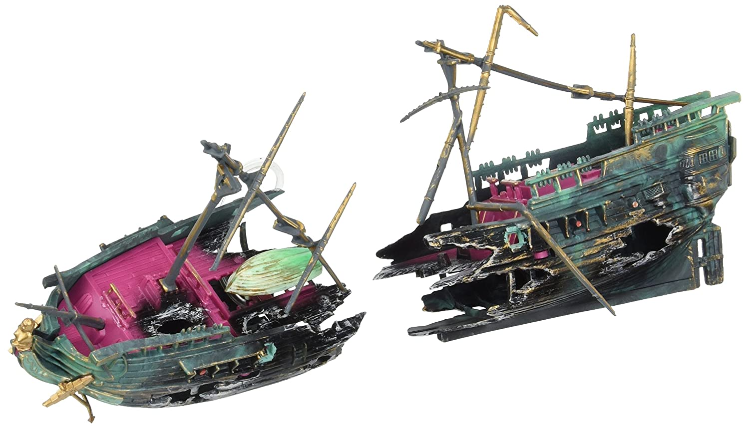 Penn Plax Shipwreck Aquarium Decoration Ornament with Moving Masts Lifeboat and Bubble Action
