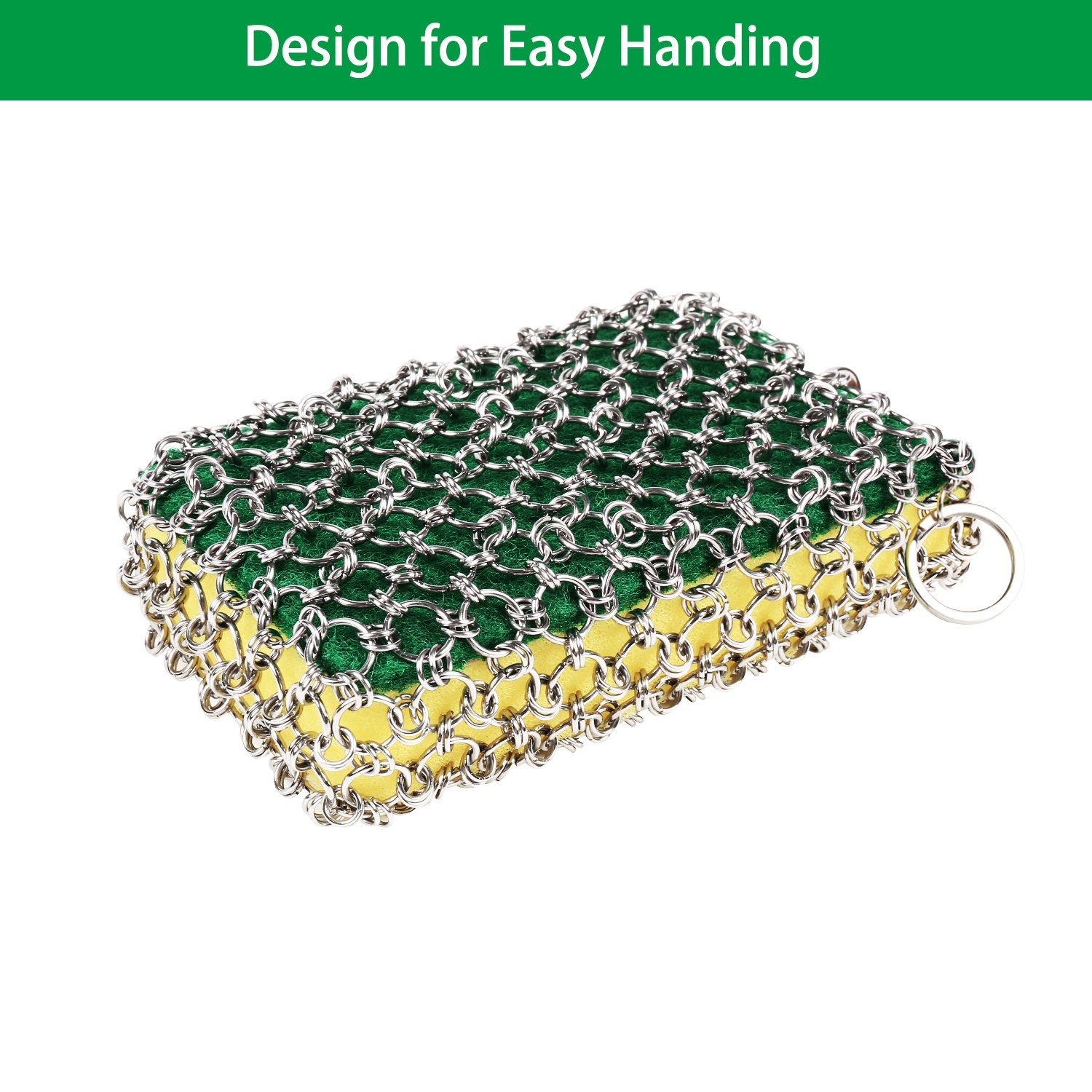 Cast Iron Cleaner, Stainless Steel Chainmail Scrubber for Cast Iron Pans, Cookware, Counters Grill Scraper, Oil-Free, Easy Handing, No Soap Required Cast Iron Skillet Cleaner for Home and Camping by Rayron