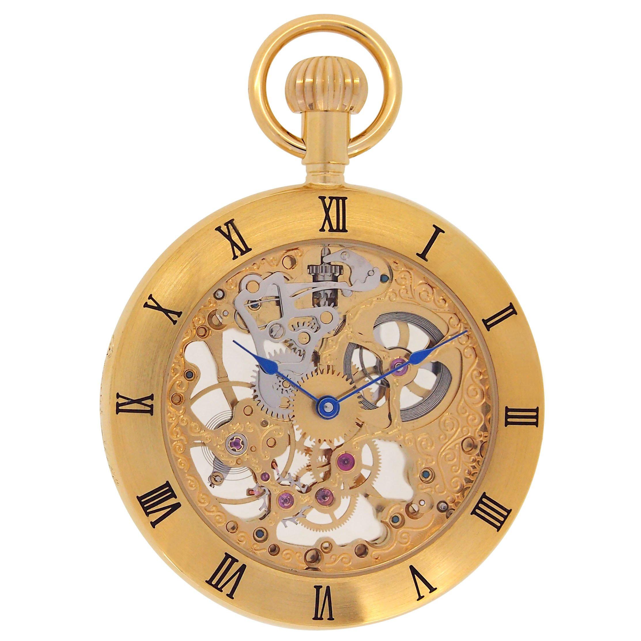 | Regent Hills Vintage Brass Case Open Face Mechanical Skeleton Pocket Watch With Chain 6444GP