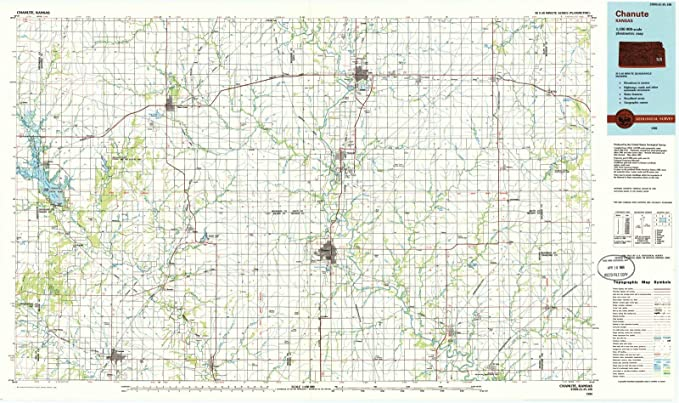 Chanute Kansas Map.Amazon Com Kansas Maps 1985 Chanute Ks Usgs Historical