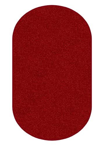 Koeckritz Oval 3 X5 Real Red 30 oz Durable Cut Pile Area Rug. Multiple Sizes and Shapes to Choose from.